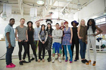 Group of London fashion students in their studio